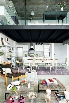 """Plexiglass """"rail"""" keeps the loft space open"""