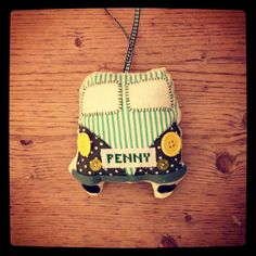 #personalised #campervan made as a lavender bag to hang in split screen VW. Visit: www.made-by-Gemma.co.uk #sewing #handmade Make And Sell, How To Make, Lavender Bags, Campervan, Bunting, Vw, Christmas Ornaments, Sewing, Holiday Decor