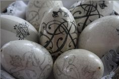Decorative Easter Eggs with elegant romantic initials. Perfect gift for her. Iwona Mierowska, I.M. Decorations