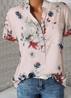 Button Up Casual Elegant Print Short Sleeves Polyester V-Neck Shirt Blouses Blouses, veryvoga Short Sleeve Button Up, Short Sleeve Blouse, Short Sleeves, Short Sleeve Shirts, Long Sleeve, Loose Shirts, Casual T Shirts, Casual Tops, Printed Shirts