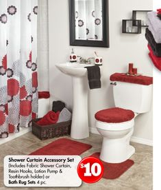1000 images about bathroom theme decor black gray and for Red and black bathroom accessories sets