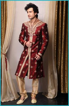 red groom outfit