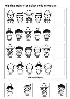 werkblaadje:zoek het juiste prentje Around The World Theme, People Around The World, Around The Worlds, Bible Story Crafts, Bible Stories, Preschool Worksheets, Preschool Activities, Math Patterns, World Crafts