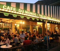 Beignets and cafe au lait at Cafe du Monde, New Orleans