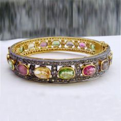 VICTORIAN 5.10CT Rose cut Diamond Bangles, Free Shipping Worldwide #SuratCarat