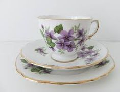 Royal Vale China Trio - tea cup, saucer and side plate in White Bone China with violets My Auntie Blanche would have loved this one. Teapots And Cups, Teacups, Sweet Violets, Bone China Tea Cups, Side Plates, My Tea, Tea Cup Saucer, Vintage China, Tea Party
