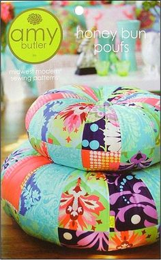 Shop   Category: Home Decor   Product: Honey Bun Poufs Pattern. Amy Butler's fun stackable floor cushions.