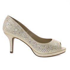 bfa85d21870 Frank Gold Peep Toe Glitter Rhinestone Stud High Heel Dress Pump w  Comfortable Insole High Heel