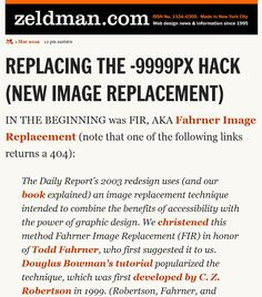 REPLACING THE -9999PX HACK (NEW IMAGE REPLACEMENT) by Jeffrey Zeldman, 1 March 2012. #NED12