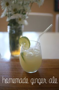 homemade ginger ale - spicy ginger syrup topped off with seltzer and a squeeze of lime