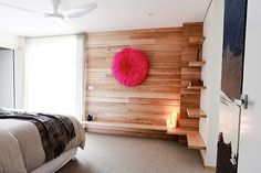 Timber feature wall in bedroom..