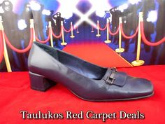 Womens #shoes SRO #Navy #Blue #LEATHER Classic #Pumps #Heels square heel & toe sz 8 M #SRO #PumpsClassics