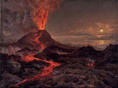 Johan Christian Clausen Dahl (1788-1857), Vue nocturne du Vésuve en éruption.