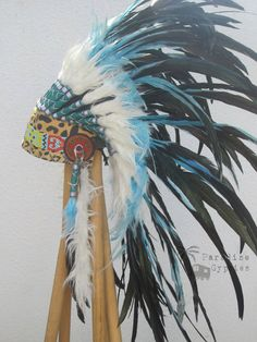 Tribal Turquoise/Black Double Feather Headdress by ParadiseGypsies