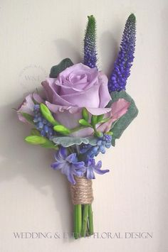 Ideas Wedding Purple Boutonniere Twine For 2019 Rose Wedding Bouquet, Lilac Wedding, Purple Wedding Flowers, Corsage Wedding, Bridal Flowers, Floral Wedding, Purple Blue Weddings, Lavender Weddings, Purple Rose