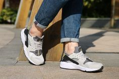 923f78d52e85c Purchase Nike Air Huarache Wolf Grey Ash Grey Bamboo Brown On Feet