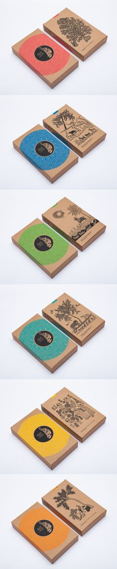 A range of festive gift boxes for Blue Tokai - Screen printed on Kraft paper. These boxes contain the best and freshest single estate arabica coffees from farms across India.