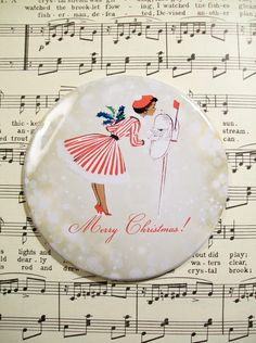 Merry Christmas Magnet, Pretty Vintage 1950's African American Woman in a Holiday Dress, Refrigerator Magnet by PrayerNotes on Etsy