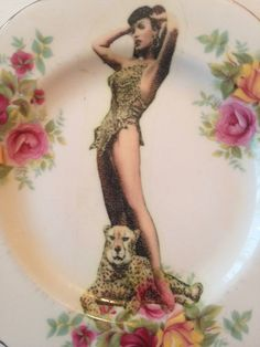 Bettie page and leopard vintage repurposed plate by fromthelittlefoxden on Etsy Bettie Page, Den, Classic Style, Repurposed, Pin Up, Plate, Trending Outfits, Unique Jewelry, Etsy