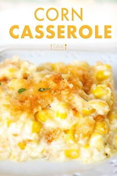 Cream Corn Casserole with Cream Cheese Make this easy, cheesy baked Cream Corn Casserole recipe with Ritz crackers this Thanksgiving! It's the perfect holiday side dish for feeding a crowd! Baked Creamed Corn Casserole, Creamy Corn Casserole, Casserole Recipes, Taco Casserole, Casserole Dishes, Corn Pudding Recipes, Creamed Corn Recipes, Cream Cheese Corn, Cream Cheese Recipes