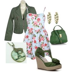 Floral Dress With Green Wedges :)
