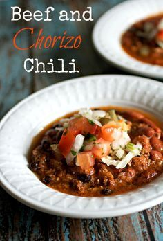 Beef and Chorizo Chili - Easy and healthy one-pot Beef and Chorizo Chili is a great dish to enjoy this Cinco de Mayo…or anytime!  Recipe for homemade fresh chorizo is included too.