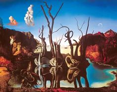 Art Print: Swans Reflecting Elephants, c.1937 by Salvador Dalí : 11x14in