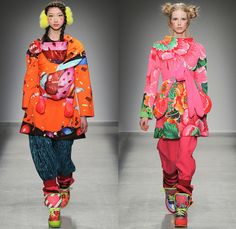 Manish Arora 2014-2015 Fall Autumn Winter Womens Runway Looks - Paris Fashion Week Mode à Paris Prêt à Porter Défilés - Colorful Prints Illustrations Graphic Art Popsicle Hearts Fruits Candycane Stripes Cupcake Hearts Mountains Snow Flowers Florals Leggings Ribbon Capelet Hanging Sleeve Sweater Jumper Hoodie Embroidery Belt Fanny Pack Infant Baby Holster Carrier Skirt Frock Dress Teddy Bear