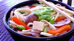 Udon Noodles with Edamame, Peppers & Mushrooms in Ginger-Garlic Broth