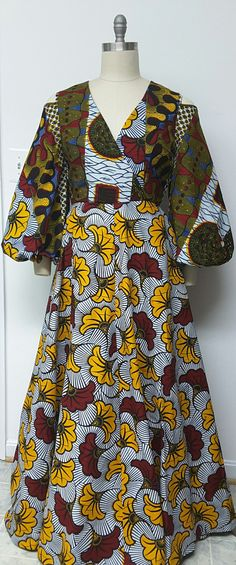 African Print Fit and Flare Maxi Dress. Inside by NanayahStudio
