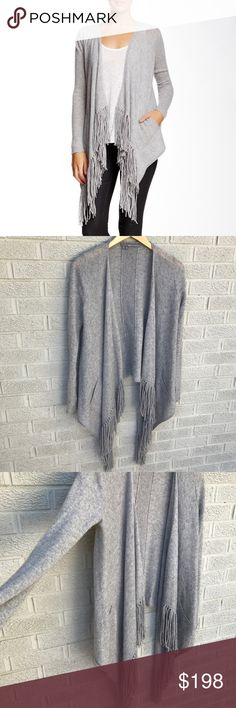 """360 Cashmere Dominique Cashmere Cardigan Love!!! 360 Cashmere Dominique 100% Cashmere Fringe Cardigan in Heather Grey! So soft & dreamy!! Delicate fringe trims the open front of the supersoft Dominique cardigan, adding detail to a simple silhouette! Open front, Long sleeves & pockets! Fringe trim. Asymmetrical hem. Size Small. Approx. 22"""" shortest length, 40"""" longest length. 100% cashmere Fit: this style fits true to size. Like new! BR1742091517 360 Cashmere Sweaters Cardigans"""