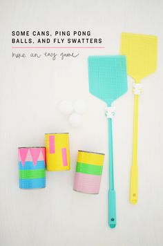 diy: some cans, ping pong balls, and fly swatters