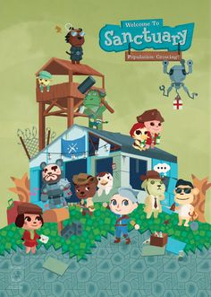 animal crossing x fallout 4 companions crossover - sorry for leaving out dogmeat and not drawing any cats (saving them for atom cats!) [ print shop here: tinrobo.storenvy.com ]