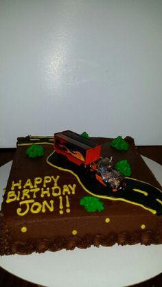 Semi Truck Birthday Cake I Made!!!