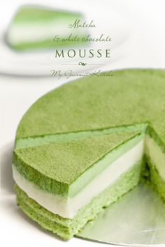 Prepare your senses for this gorgeous dessert: it all starts with a layer of matcha sponge cake, followed by a layer of white chocolate mousse, then topped with matcha mousse and a garnish of green tea powder. | My Gourmet Kitchen
