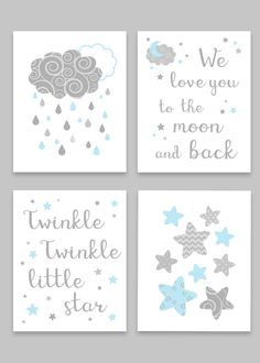 Grey and Mint Nursery Art, Sun Moon and Stars, Gender Neutral Baby Decor, Twinkle Twinkle Little Star, We Love You To The Moon And Back - Baby Room Aqua Nursery, Nursery Decor Boy, Star Nursery, Nursery Art, Nursery Ideas, Nursery Prints, Nursery Quotes, Girl Decor, Room Decor