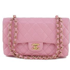 Pre-Owned Chanel Pink Caviar Medium Classic 2.55 Double Flap Bag ($3,799) ❤ liked on Polyvore featuring bags, handbags, pink, chain strap purse, chanel purse, pink quilted purse, holographic purse and genuine leather purse