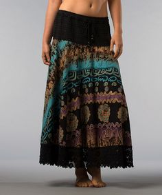 Take a look at this Turquoise & Purple Lace-Trim Skirt by Kaktus on #zulily today!