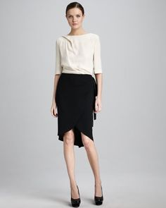 Two-Tone Crepe Dress by Rachel Roy at Neiman Marcus.