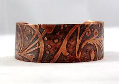 Etched Copper Cuff Bracelet Copper Patina by BlingsByChristy
