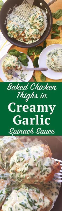 Baked Chicken Thighs with Creamy Garlic Spinach Sauce. A gourmet dinner in under 30 minutes? It's possible with this Baked Chicken Thigh recipe with Creamy Garlic Spinach Sauce. Click through for the instructions! | SeasonlyCreations.com | @Seasonlyblog