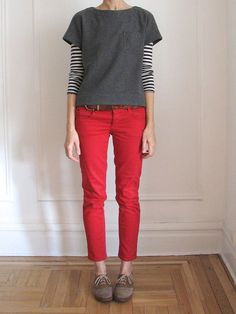 Coloured pants with neutral top. Like. Including brown belt & shoes.