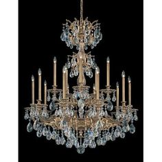 Schonbek Milano 15 Light Crystal Chandelier Finish: Roman Silver, Crystal Color: Strass Golden Shadow