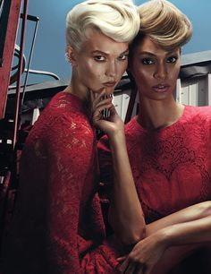 Fashion Editorial: Karlie Kloss and Joan Smalls both in red lace Dolce and Gabbana garments for W magazine November Photograph by Steven Klein; styled by Edward Enninful. Karlie Kloss, Red Fashion, Fashion Models, High Fashion, Fashion 2014, Fashion Shoot, Editorial Photography, Fashion Photography, Edward Enninful