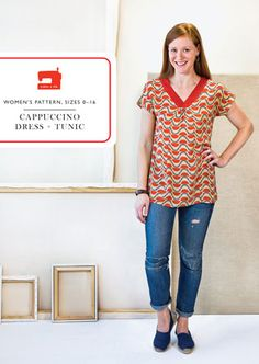 Cappuccino Dress and Tunic Sewing Pattern by Liesl + Co. - Blouse Sewing Pattern - Pattern - Liesl Gibson - Sewing Pattern - Womens Pattern by Owlanddrum on Etsy Tunic Sewing Patterns, Tunic Pattern, Clothing Patterns, Dress Patterns, Pdf Patterns, Make Your Own Clothes, Sewing For Beginners, Kimono Fashion, Fashion Sewing