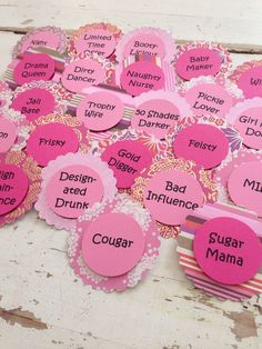 Bachelorette Party Brooch Pins. Nick Name Tags. Bride to be. Mommy to be. Birthday. Team.
