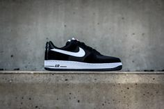 new product f4262 e3c5d Nike Air Force 1 Drops in a Black and White Mesh Suede Combination