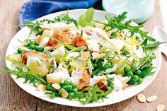 Smashed potato, pea and chicken salad