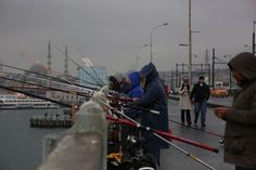 fishermen on the bridge over the Bosphorus in Polis. Four Square, Istanbul, Bridge, Street View, World, Beautiful, Bridges, The World, Bro