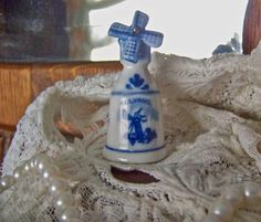 Blue Delft Thimble with Windmill by cynthiasattic on Etsy, $21.00